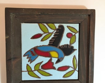 """Vintage Hand Painted Ceramic Tile/ 1960s Painted ceramic tile with solid wood frame Framed-9""""x9""""-Bird painting on ceramic tiles"""