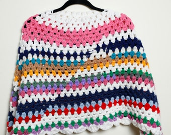 Vintage 70s/80s Super Cute Cool Granny Multi Colored Knit Kawaii Style Poncho Sleeveless Top Unisex