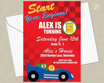 Race Car Birthday Invitation - Racing Cars Birthda Party Invitation - Cars Party Invitation - Cars and Truck Invitation