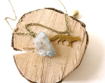 Blue wolf amulet necklace ( blue and brass, magic, curse ) 01