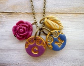 Double Initial necklace in plum and blue