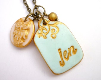 Name Tag with Owl - Script font name necklace - Whimsical owl jewelry - Romantic shabby Chic