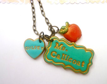 Teacher's appreciation Necklace, Personalized teacher gift, Mrs. Calicot, red apple, name plate, to teacher from student, elementary, school