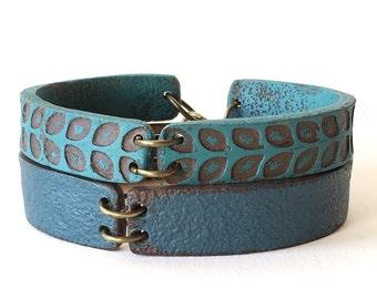 Blue Leather Inspired Cuff Bracelet, Clay Jewelry, Blue bracelet duo, Santa Fe, Boho Bridesmaids Gifts