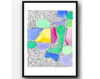 Beach Glass doodle giclee print original watercolor painting Sea glass, abstract watercolor painting