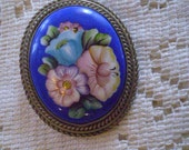 vintage Floral PAINTED ENAMEL Pin FREE Domestic Shipping