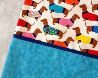 Pillow Case Dachshunds in Sweaters on White