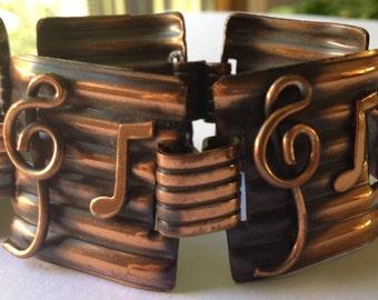 Sale Vintage Musical Notes Chunky Copper Link Bracelet Wide