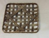 """14 1/2"""" Square Tobacco Basket, Hand Woven, Replica, Dark Walnnut"""