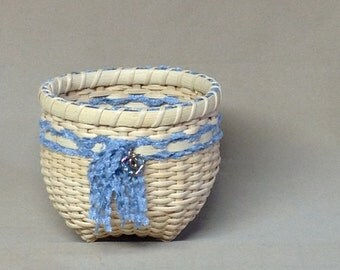 Cute Little Hand Woven Basket,  Light Blue Yarn with Silver Colored Heart Shaped Charm
