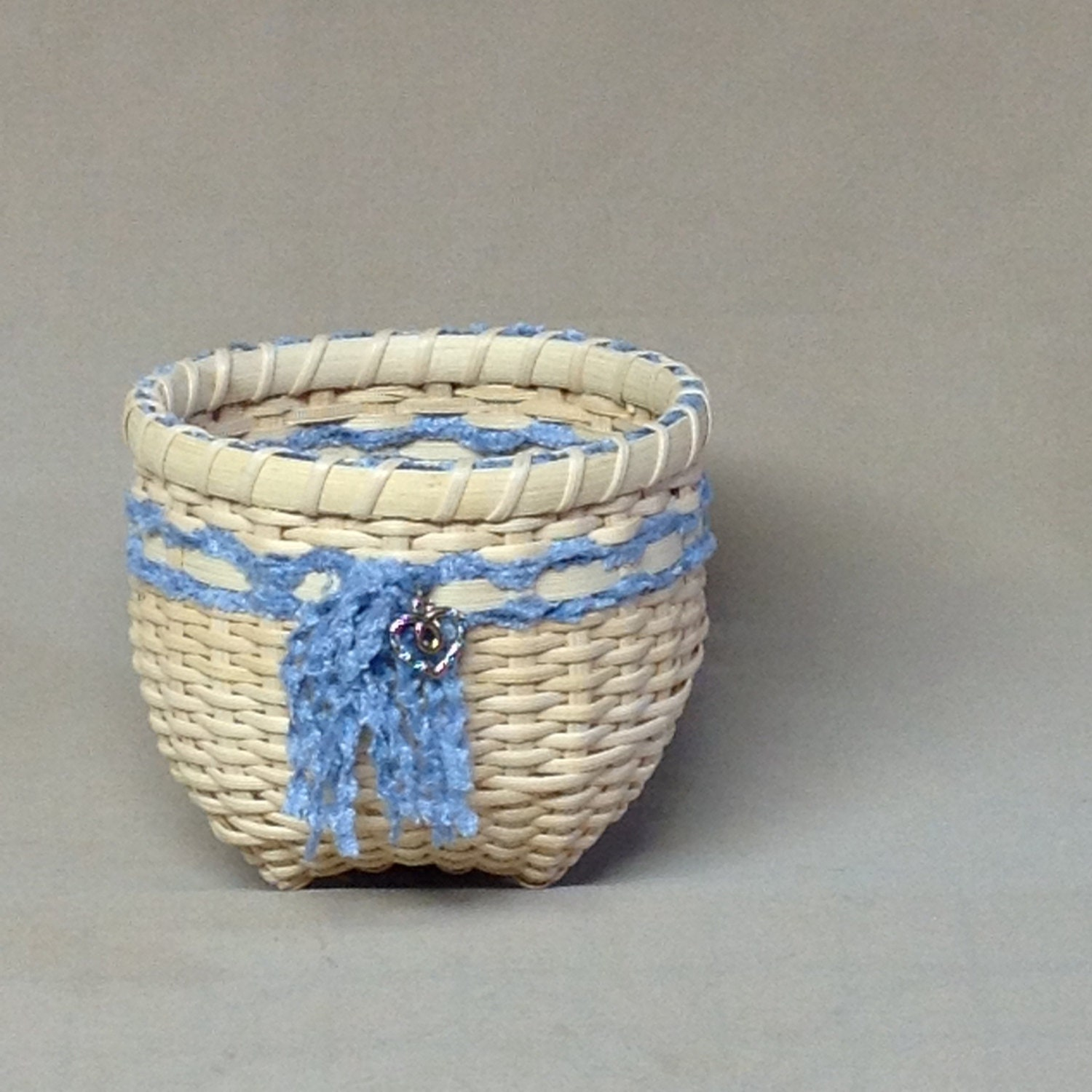 Woven Yarn Basket : Cute little hand woven basket light blue yarn by