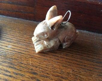 Rabbit Pendant, Bunny Pendant, Soapstone Pendant, Carved Pendant, Gemstone Pendant, Gift for Her, Animal Pendant, Rabbit Jewelry