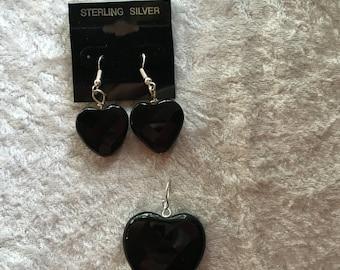 Heart Pendant, Heart Earrings, Black Onyx Pendant, Black Onyx Earrings, Dangle Earrings, Gift for Her, Matching Jewelry, Heart Jewelry