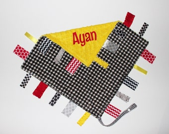 Personalized DOUBLE MINKY Ribbon Tag Blanket, Black and White Houndstooth, Yellow and Red, Pacifier Clip, Large 16 x 16
