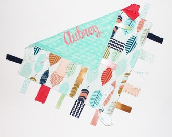 PERSONALIZED Baby Girl Ribbon Tag Blanket, Feathers, Coral, Mint, Navy, Pacifier Clip, Opal Mint Minky, Tribal, Rustic, Large 16 x 16