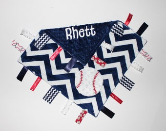 Personalized  DOUBLE MINKY Ribbon Tag Blanket with Baseball and Pacifier Clip, Large 16 x 16 Red, White, Navy