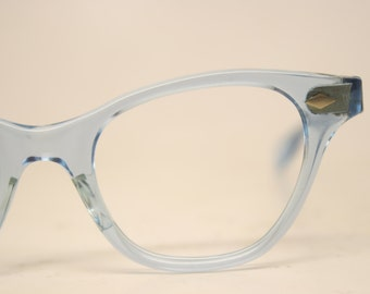 Blue Translucent Unused cat eye glasses vintage cateye eyeglasses frames New Old Stock