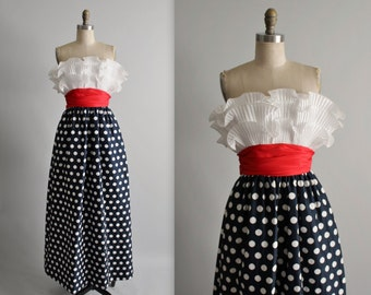 Vintage Lillie Rubin Dress // Vintage 1980's Strapless Polka Dot Crumb Catcher Cocktail Party Evening Gown XXS XS