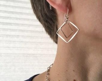 Double Diamond Earrings, Two Square Earrings, Silver Squares, Hammered Squares, Two Squares Dangles, Geometric Earrings