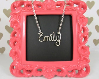 Custom Name Necklace, Silver Wire Wrap Name or Word up to 9 letters, Personalized Necklace, Bridesmaid Gift Idea, Jewelry Gift Under 20