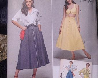 Simplicity 1166 U5 Sizes 16-24 1950s Vintage Reproduction Skirt Shirt Bra Top Plus Size Sewing