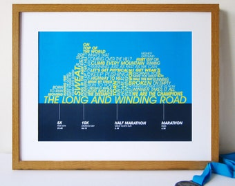 Running Achievements Print - Personalised poster for Runners - Running enthusiast personalised print