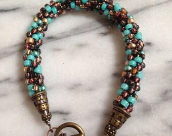 Teal, Brown and Copper Bracelet *FUND RAISING ITEM*
