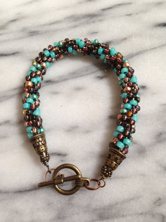 Teal, Brown and Copper Bracelet *FUND RAISING ITEM*