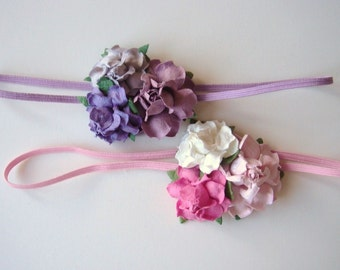 Small Flowers on Skinny Headband - Set of Two Headbands - Pink Ivory Purple Lilac Lavender - Newborn Photo Prop Headband - Baby Headband