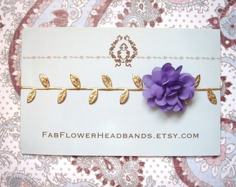 Newborn Purple Flower with Gold Leaves Headband - Grecian Headband - Baby Gold Leaf - Golden Leaves Headband - Newborn Gold Leaves Halo