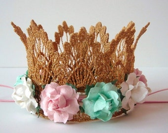 Gold Crown - Mint Green - Pink - Ivory Flowers - Mint and Pink Flower Baby Crown - Mint Pink Gold Crown - First Birthday - Cake Smash