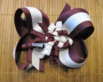 3451 Aggie maroon and white double ribbon boutique bow with korkers