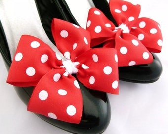 Minnie Mouse accessories Shoe Clips Fancy Dress accessories Shoe Bows Red White Polkadot