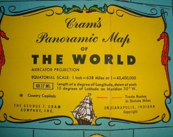 Cram's Panoramic Map of the World