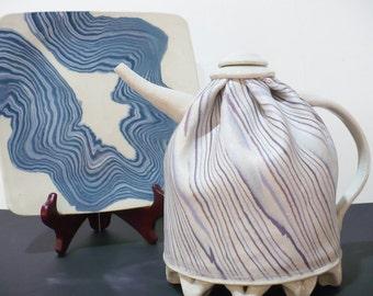 Art, Fine Art Ceramics, Teapot and Plate by Artist Betty Johnson, Studio Art, Hand Thrown,