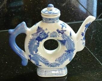 Asian Porcelain Teapot, Blue White, Unique design, Hole in Center, Surrounded by Dragons
