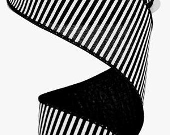 2.5 Inch Black White Horizontal Stripes Royal RG178102, Deco Mesh Supplies