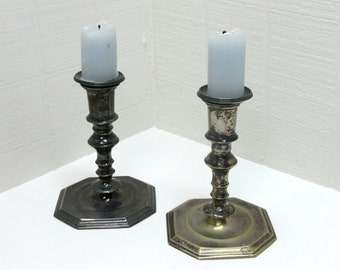 Vintage Eales Silver Plate Candlesticks Lot Of 2