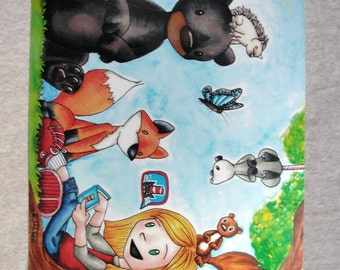 Story Time!  A Girl Telling Stories to forest animals, Artwork - 8x10 photographic print (Metallic Paper)