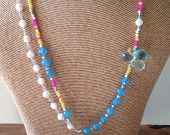 Beaded Necklace, Sundance Style, Yellow Jade, Freshwater Pearls, Tree Necklace, Tree of Life, Pink Quartz, Blue Agate