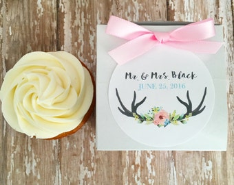 12 wedding favor boxes, floral antler wedding stickers with box, wedding cupcake box, custom flower antler wedding sticker, bridal boxes