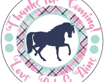 horse birthday stickers, horse party stickers, pink and navy birthday, pink plaid birthday stickers, 3 sizes available