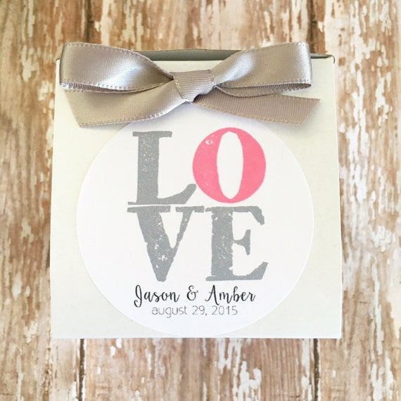 12 wedding favor boxes with stickers, love wedding stickers with box ...