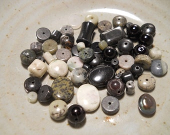 Destash Beads, Gray Grey and Black Mix, Stone Assortment, 1 Ounce, 15 mm and Smaller, Sale, Clearance