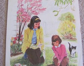 "Original Vintage School Classroom Poster Print - Circa 1965 - Planting a Garden - 9"" x 12"""