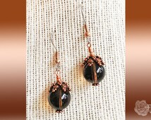 Hook Earrings AAA 10mm Smokey Quartz Rounds TierraCast Copper Ornate Bead Caps U Choose Surgical Steel With Copper or Sterling Silver Hooks