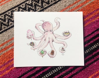 Watercolor Dessert Octopus fine art print