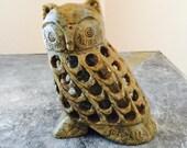 Vintage Carved Onyx Owl Figurine