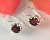Garnet Earrings Sterling Silver , Red Garnet Jewelry Gift For Her , Gemstone Silver Earrings Round Faceted Garnet Earrings - MADE TO ORDER