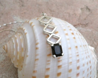 Sterling Silver Necklace with Brown Smoky Quartz Geometric Necklace  , Emerald Cut Faceted Smoky Quartz Necklace with Diamond Shape Elements